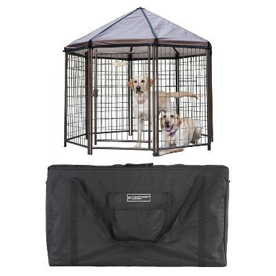 Advantek 5 Foot Portable Indoor Outdoor Metal Pet and Dog Gazebo with Cover & Advantek Pet Gazebo Carry Bag, Black
