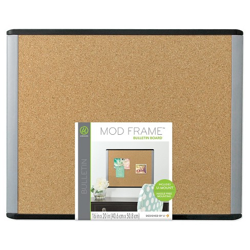 U Brands Mod Cork Bulletin Board 20 X 16 Blackgray Frame Target