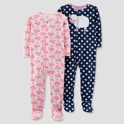 Baby Girls' 2pk Polka Dot Sheep/Turtles Footed Pajama Set - Just One You® made by carter's Navy 9M