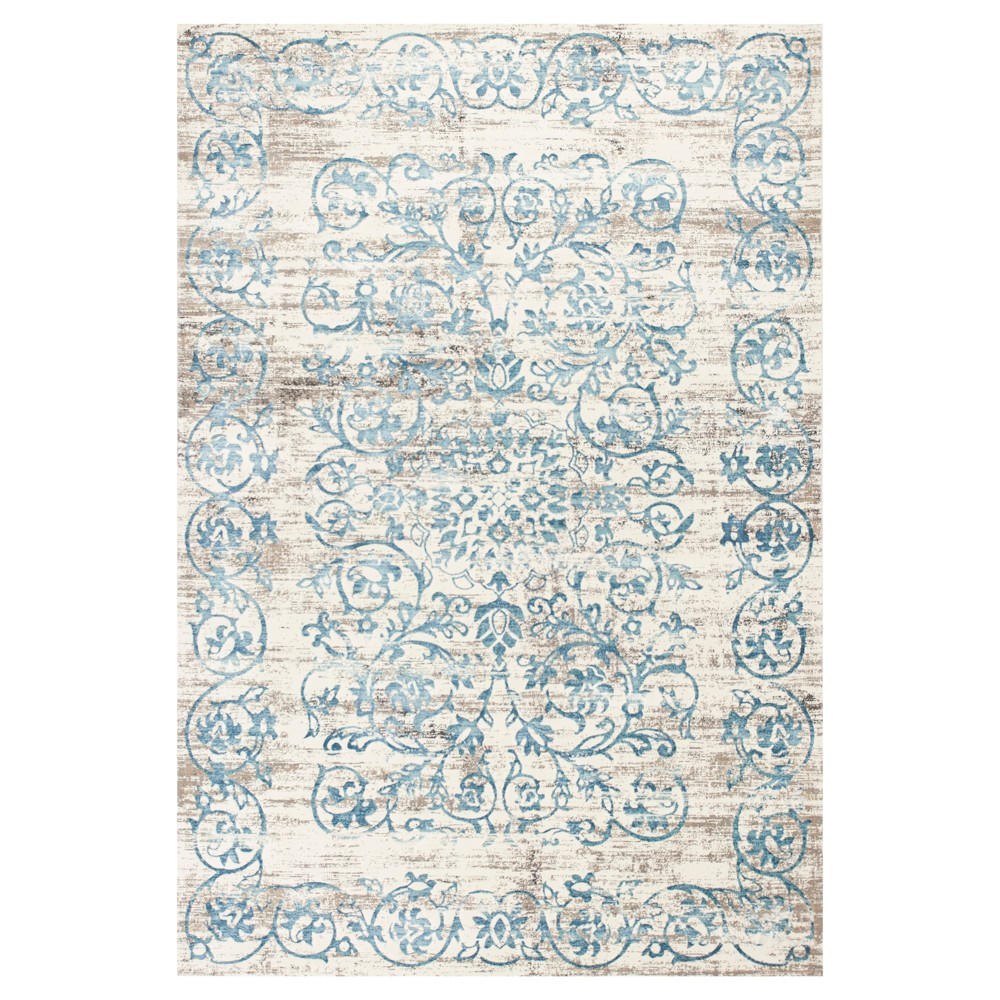 Ivory Damask Pressed/Molded Area Rug 7'10