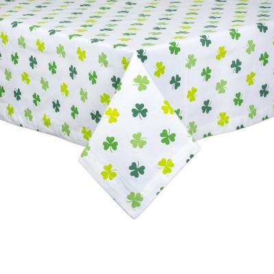 "84"" x 60"" Cotton Shamrock Shake Print Tablecloth Green - Design Imports"