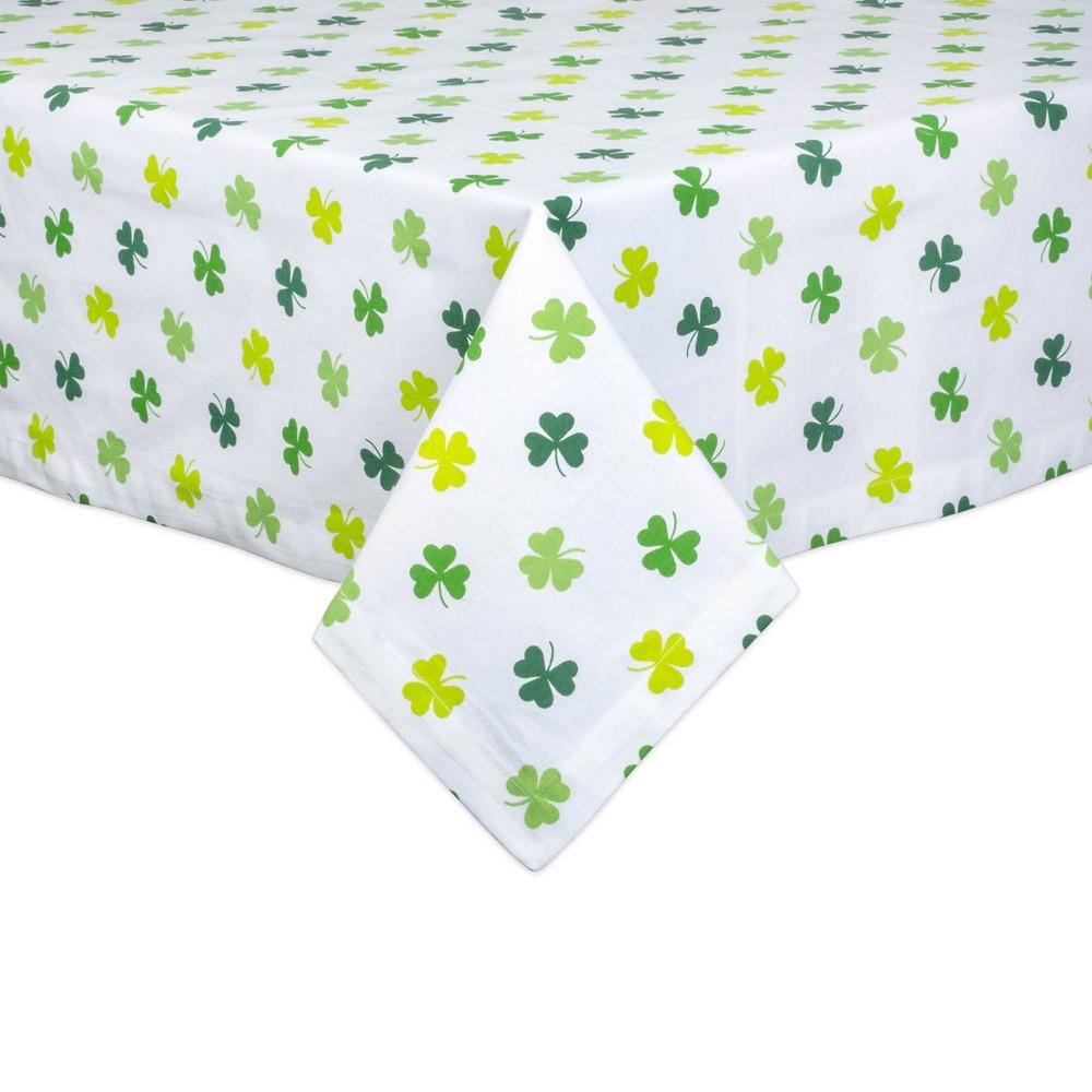 84 34 X 60 34 Cotton Shamrock Shake Print Tablecloth Green Design Imports