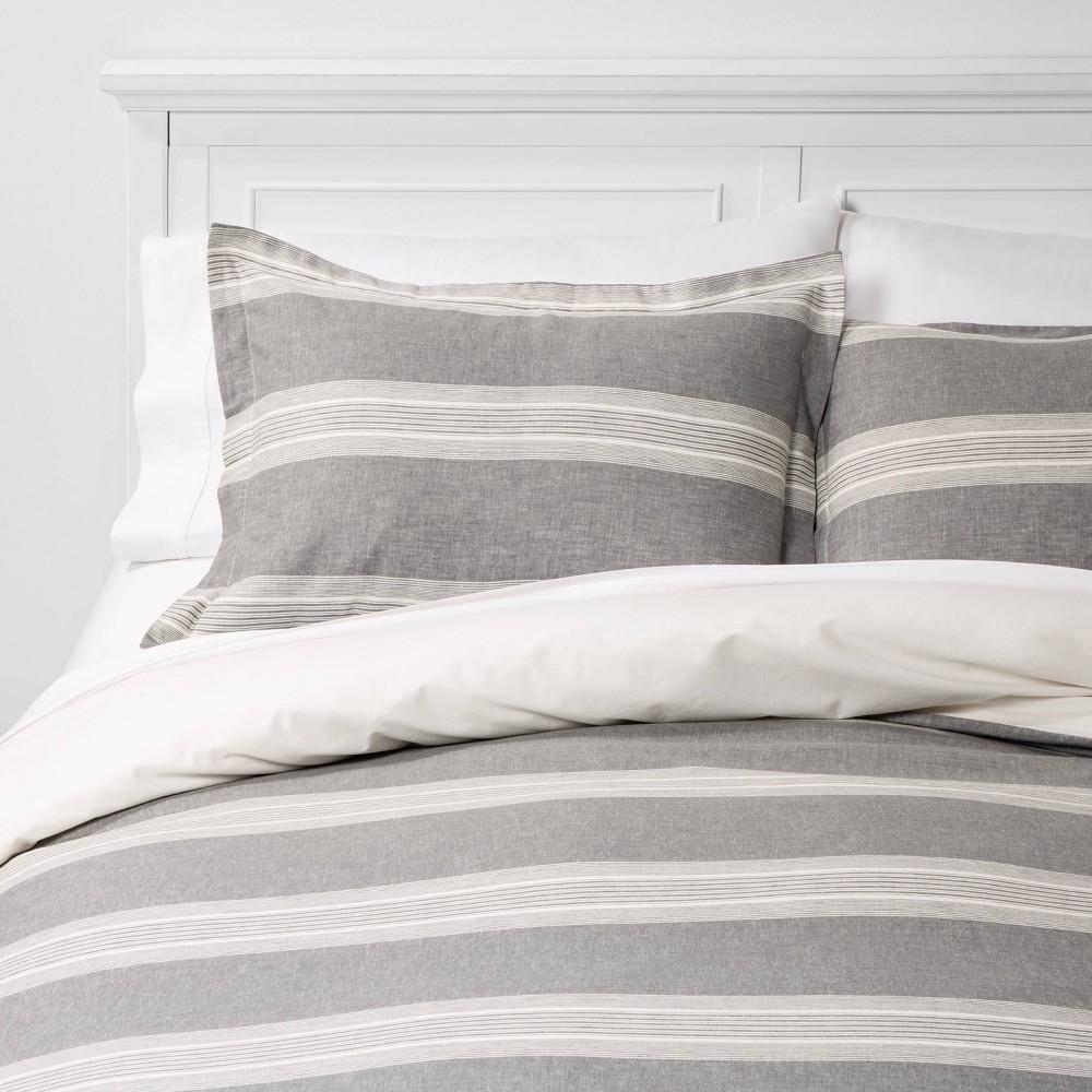 Full/Queen Chambray Yarn Dye Stripe Duvet & Sham Set Gray - Threshold, Radiant Gray