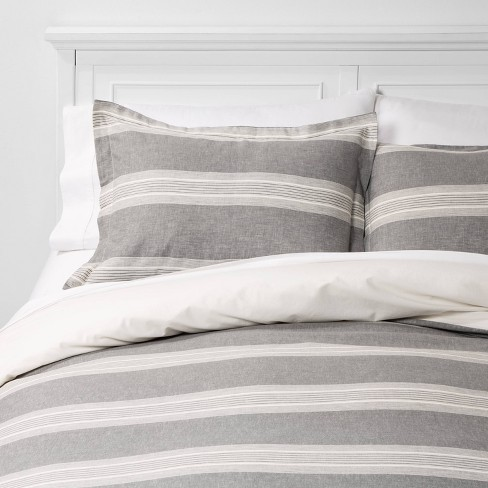 Chambray Yarn Dye Stripe Duvet & Sham Set - Threshold™ - image 1 of 3