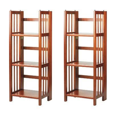 Casual Home 331-39 3 Shelf 14 Inch Folding Office Furniture Wood Bookcase, Mahogany (2 Pack)