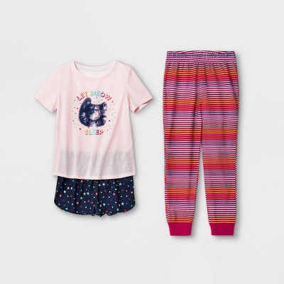 Girls' 3pc Kitty Pajama Set - Cat & Jack™