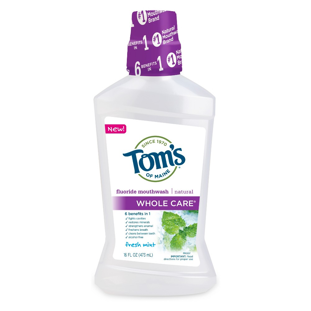 Tom's of Maine Whole Care Mouthwash - 16 fl oz Tom's of Maine Whole Care Mouthwash in Fresh Mint. Whole Care mouthwash offers clinically proven cavity protection, plus there are no artificial colors, sweeteners or preservatives. Pair it with Tom's of Maine Whole Care fluoride toothpaste and build stronger oral care habits with the Whole Care family. Age Group: Adult.