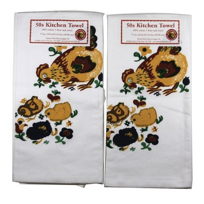 """Tabletop 24.0"""" Mama Hen W/Chicks Towel Cotton Usa St/2 Red And White Kitchen Company  -  Kitchen Towel"""