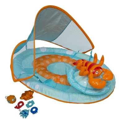 """Swim Way 36"""" Lobster Inflatable 1-Person Swimming Pool Baby Float Activity Center - Blue/Orange"""
