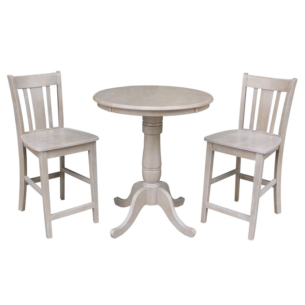Solid Wood Round Pedestal Counter Height Table and 2 San Remo Stools Washed Gray Taupe (3pc Set) - International Concepts