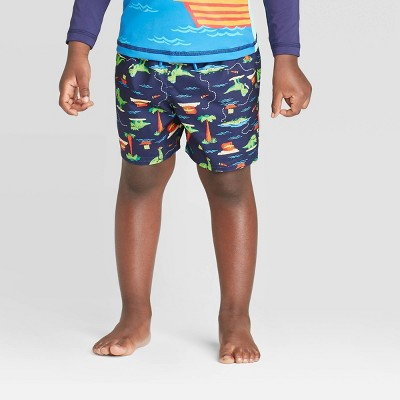 Toddler Boys' Dino Pirate with Side Seam Swim Trunks - Cat & Jack™ Navy 12M
