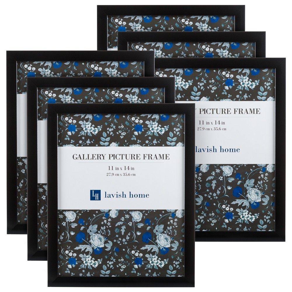 """Image of """"Picture Frame with Stand and Hanging Hooks Black 11""""""""x14"""""""" 6pk - Lavish Home"""""""
