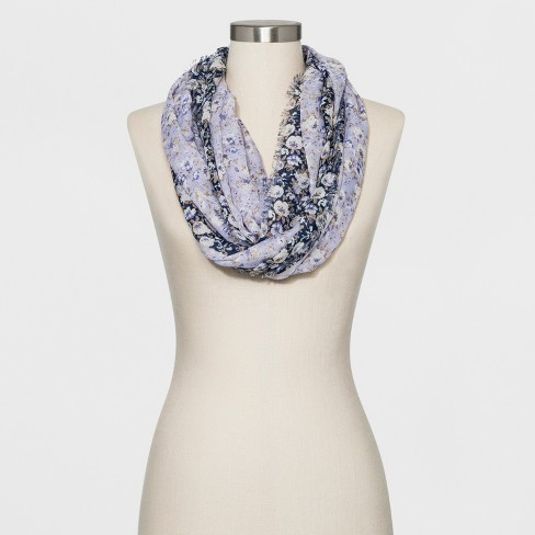 Collection XIIX Women's Floral Print Loop Scarf - Chambray - image 1 of 2