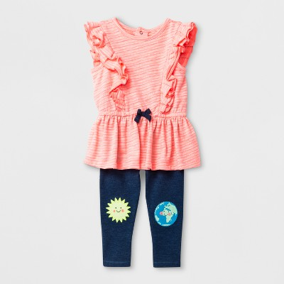 Baby Girls' Ruffle Top and Leggings Set - Cat & Jack™ Coral 3-6M