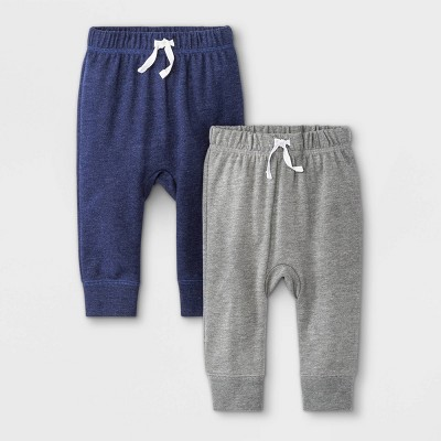 Baby Boys' 2pk Fench Terry Jogger Pull-On Pants - Cat & Jack™ Navy/Gray 12M