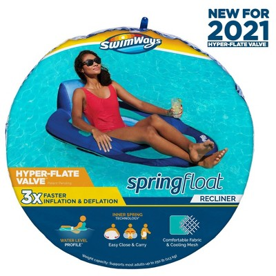 SwimWays Spring Float Recliner Swim Lounger for Pool or Lake with Hyper-Flate Valve - Blue