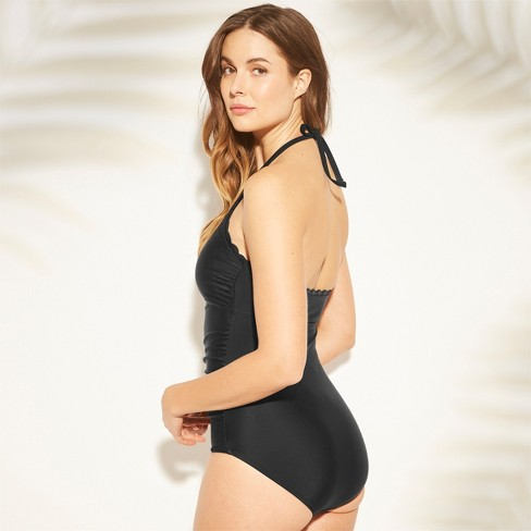 753f632a288 Women's Shirred Scallop Halter One Piece Swimsuit - Kona Sol™ Black XL :  Target