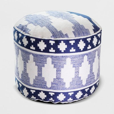Geo Woven Outdoor Pouf Blue - Threshold™