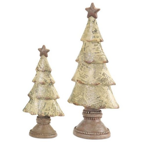 Tabletop Christmas Tree.Diva At Home Set Of 2 Newspaper Print Tabletop Christmas Tree Decor 15
