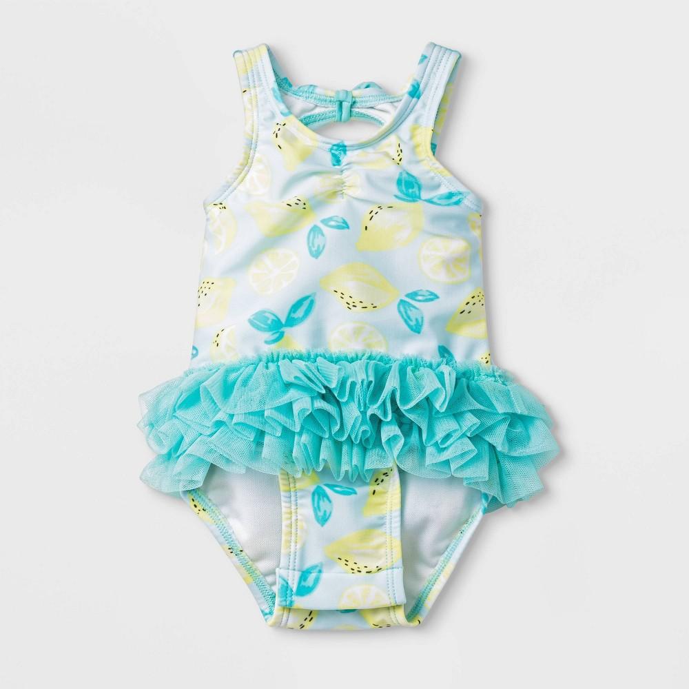 Image of Baby Girls' Lemon Print Rash Guard - Cat & Jack Turquoise/White 3-6M, Infant Girl's, Blue