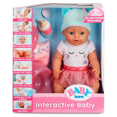 Baby Born Interactive Doll Blue Eyes Target