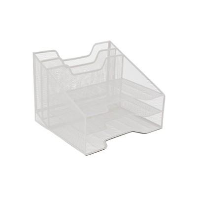 Mind Reader 3-Tiered Wire Mesh Desk Organizer Tray, 5 Compartments