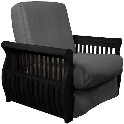 Storage Arm Perfect Futon Sofa Sleeper - Black Wood Finish - Sit N Sleep - image 1 of 1