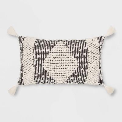 Lumbar Textured Diamond Throw Pillow Black/Cream - Opalhouse™