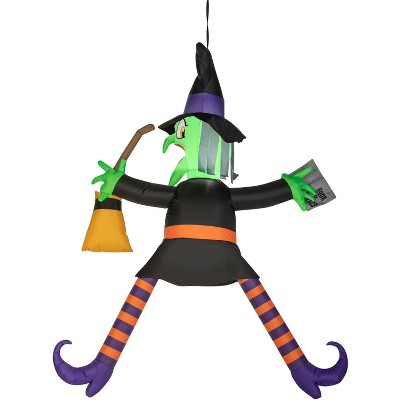 Gemmy Airblown Crashing Witch w/Spell Book , 5 ft Tall, black
