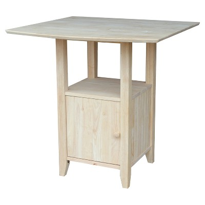 Bar Height Bistro Dual Drop Leaf Table - Unfinished - International Concepts