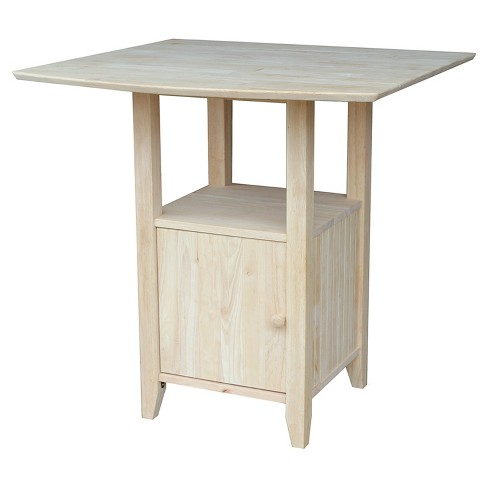 Bar Height Dual Drop Leaf Bistro Table Unfinished International Concepts
