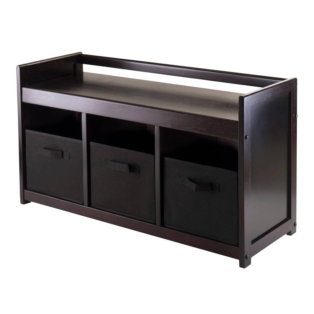 Addison 4 Piece Storage Bench with 3 Foldable Fabric Baskets In Black - Espresso, Chocolate - Winsome, Espresso Brown