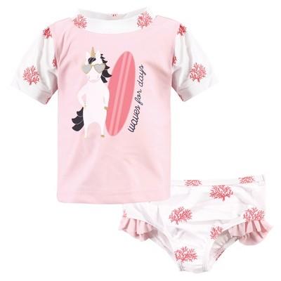 Hudson Baby Infant Girl Swim Rashguard Set, Surf Unicorn