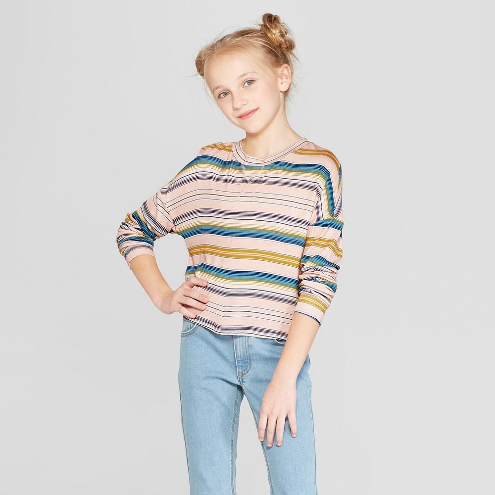 Girls' Long Sleeve Striped T-Shirt - art class Pink XS