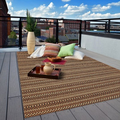 Edgeman Rectangle Patio Rug - Black / Natural - Balta Rugs & Edgeman Rectangle 5u0027X7u0027 Indoor/Outdoor Patio Rug - Black / Natural ...