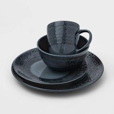 16pc Ceramic Kingfield Debossed Dinnerware Set Blue - Threshold™