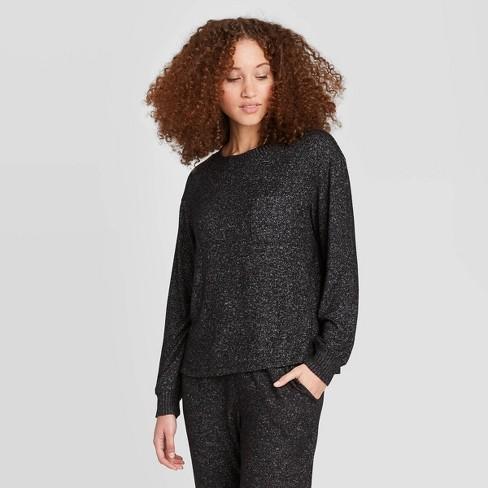 Women's Perfectly Cozy Lounge Sweatshirt - Stars Above™ Charcoal S - image 1 of 2