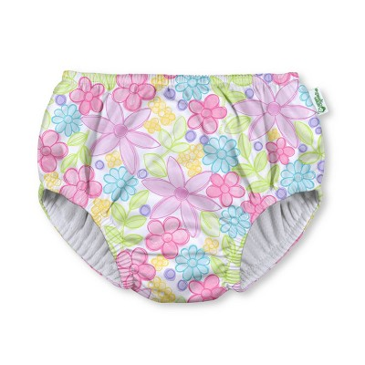 green sprouts Toddler Girls' Watercolor Flowers Pull-Up Absorbent Reusable Swim Diaper - White