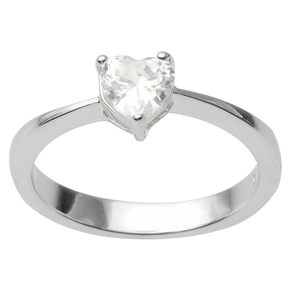 1/6 CT. T.W. Journee Collection Heart Cut CZ Basket Set Heart Ring in Sterling Silver - Silver (8)