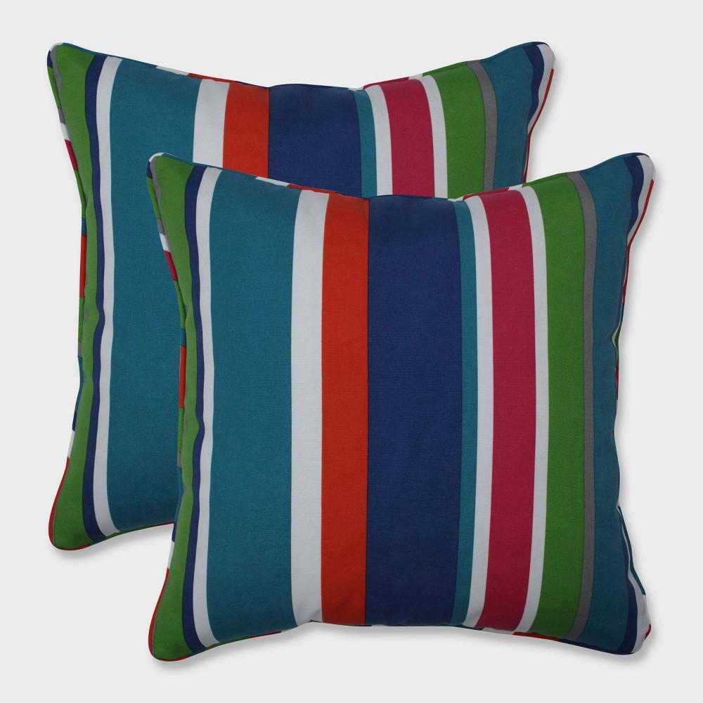 "Image of ""18.5"""" 2pk St. Lucia Stripe Throw Pillows Blue - Pillow Perfect"""