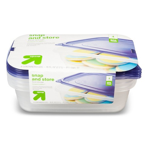 Snap and Store Medium Rectangle Food Storage Container - 4ct/76oz - Up&Up™ - image 1 of 1