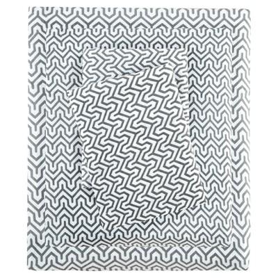 Queen Cotton Blend Jersey Knit All Season Sheet Set Gray Geometric