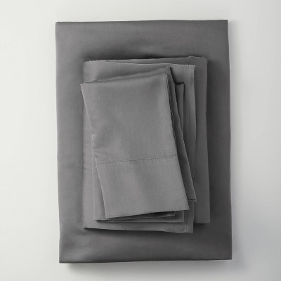 King 400 Thread Count Lyocell Solid Sheet Set Dark Gray - Casaluna™