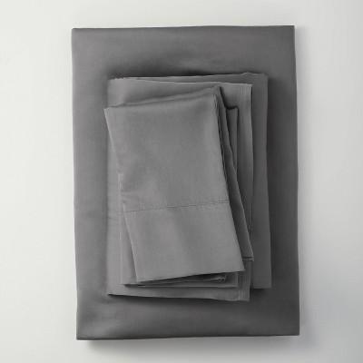 Queen 400 Thread Count Washed Lyocell Solid Sheet Set Dark Gray - Casaluna™