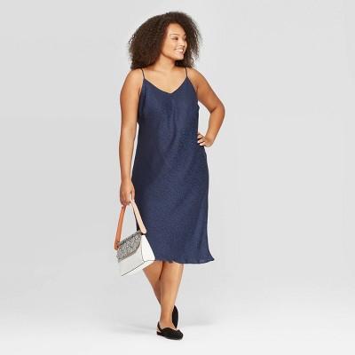 Women\'s Plus Size Sleeveless V-Neck Midi Shiftdress - A New Day™ Navy