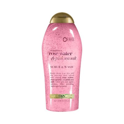 OGX Sensitive + Rose Water & Pink Sea Salt Scrub & Wash 19.5 fl oz