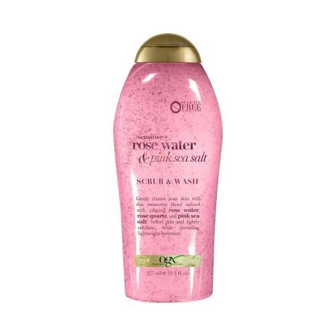 OGX Sensitive + Rose Water & Pink Sea Salt Scrub & Wash 19.5 fl oz - image 1 of 4