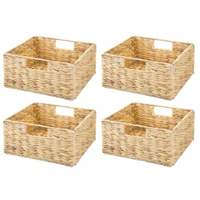 mDesign Woven Hyacinth Home Storage Basket for Cube Furniture, 4 Pack