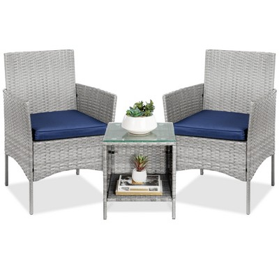 Best Choice Products 3-Piece Outdoor Wicker Conversation Bistro SetPatio Chat Furniture w/ 2 ChairsTable