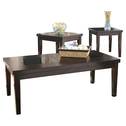 Denja Occasional Table Set Dark Brown